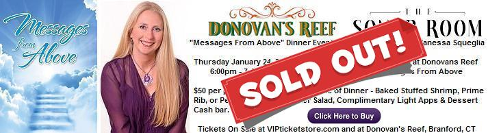 VIPcontacts.com Presents Medium Psychic Vanessa Lynn Squeglia Messages From Above Dinner Show at Donovans Reef Sonar Room - Thursday January 24, 2019 - SOLD OUT