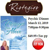 VIPcontacts.com Presents Ristegio's Psychic Dinner Show - Messages From Above with Psychic Medium Vanessa Squeglia